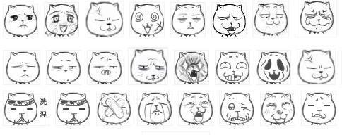 表情包括恶搞各界的名人(既把名人的脸嵌入式的放在猥琐猫的脸中)