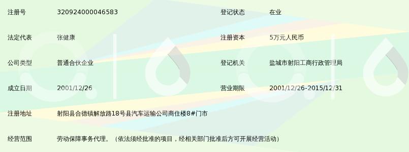 射阳县维佳劳动保障事务代理中心(普通合伙)_